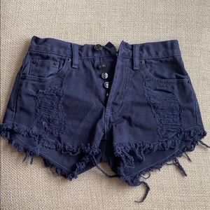 Brandy Melville Navy Blur Distressed Jeans Shorts